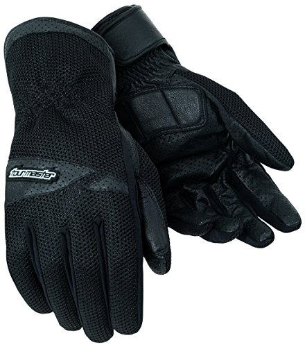 Tour Master Dri-Mesh Mens Leather/Textile Street Bike Racing Motorcycle Gloves - Black / (Tour Master Motorcycle Glove)