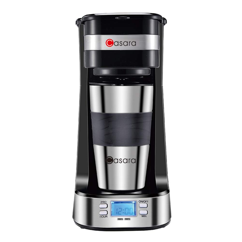 Casara Single Cup Coffee Maker- with 14 oz. Double-wall Stainless Steel Travel Mug and Reusable Filter- Personal Coffee Maker with programmable timer and LCD display,3 in 1 Single Serve Coffee maker by Casara