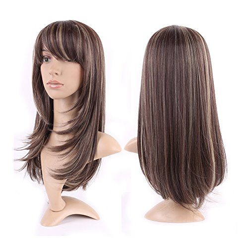 Synthetic Wig with Bangs 2 Tone Long Hair 15 Styles Heat Resistant Full Wig Full Head 20.5'' / 20.5 inch for Women Girls Lady,Brown blonde mix -