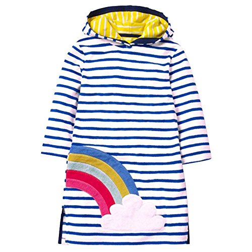 VIKITA 2018 Toddler Girl Dresses Long Sleeve Rainbow Hoodies for Girls 3-8 Years SMK085 Blue, 5T]()
