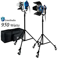 LimoStudio 950 Watts Photo Video Studio Tungsten Fresnel Continuous Spot Light Studio Lighting Kit, AGG1104