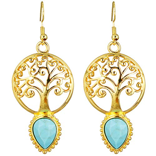 (TUMBEELLUWA Tree of Life Dangle Earrings Drop Shape Healing Crystal Quartz Alloy Hook Stone Earring Handmade Jewelry for Women,Green Howlite Turquoise)
