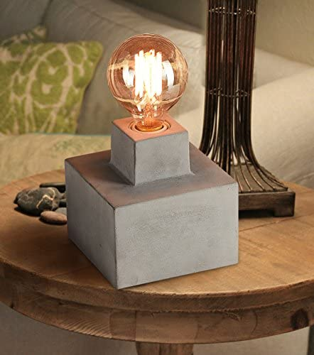 Concrete/Bedside Table/Lamp Includes 40W Exposed Retro Amber Glass Edison Bulb Industrial Grey Cement End Table Lamp Base Home Decor Gift LA JOLIE MUSE