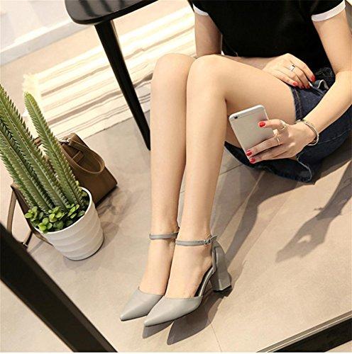 pengweiCouleur ¨¦t¨¦ mode solide avec un sandales de boucle mot pointue Mme Grey rOrvwq