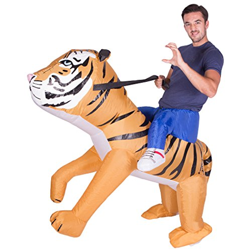 Bodysocks - Inflatable Ride Me Adult Carry On Animal Fancy Dress Costume (Tiger) (Tiger Costume Adults)