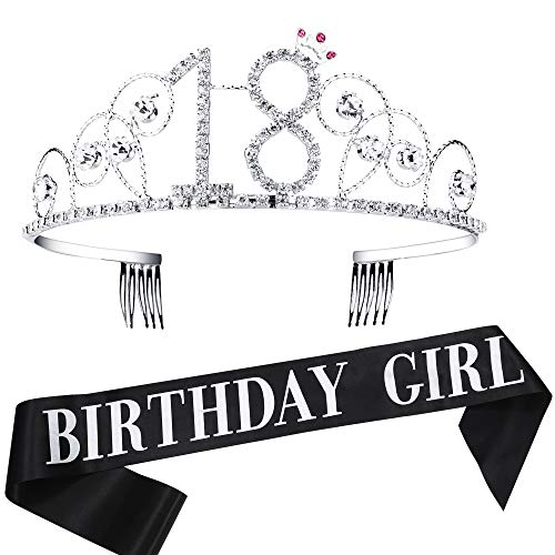 BABEYOND 18th Birthday Tiara and Sash Crystal Happy Birthday Crown and Satin Birthday Girl Sash 18th Birthday Party Supplies Rhinestone 18th Princess Crown and Glitter Sash]()