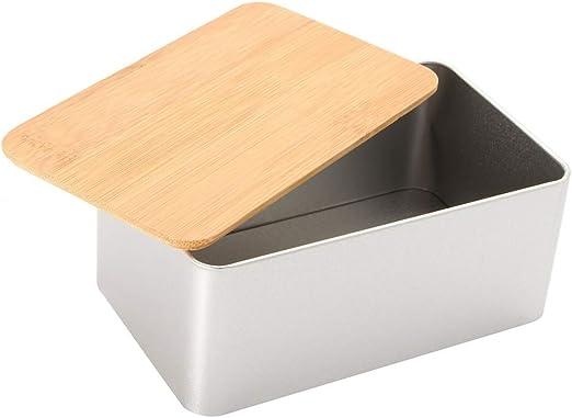 YC electronics Paneras Cocina Caja de Almacenamiento de Metal con contenedores de Tapa de bambú Pan Cajas de azúcar Té Stoarge Holder Contenedores de Alimentos Organizador Suministros Guardar panes: Amazon.es: Hogar