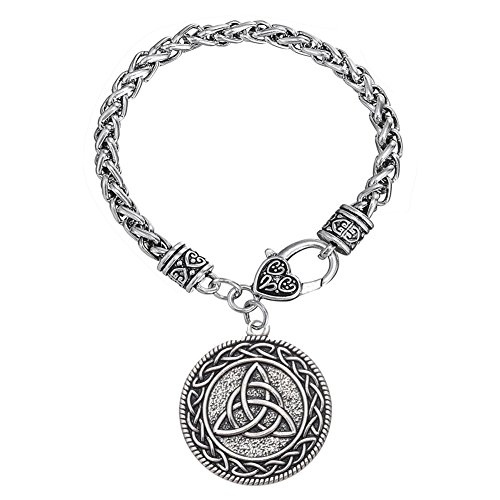 EUEAVAN Celtic Knot Triquetra Trinity Talisman Amulet Runes Pendant Bracelet -