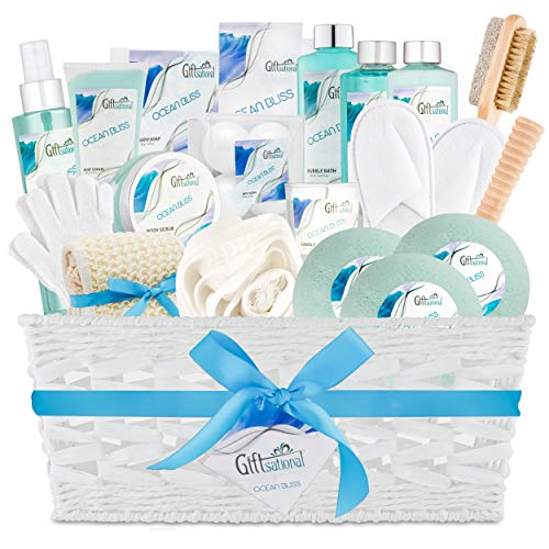 Ocean Bliss Extra Large Spa Bath Gift Basket Set by Giftsational | Includes 3 Bath Bombs, Shower Gel, Bubble Bath, Lotion, Scrub, Pumice Brush, Glass Candle, Slippers, Massage Stick & 5 More Items
