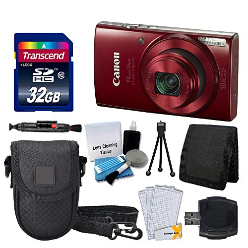 Canon PowerShot ELPH 190 is Digital Camera (Red) + Transcend 32GB Memory Card + Camera Case + USB Card Reader + Screen Protectors + Memory Card Wallet + Cleaning Pen + Great Value Accessory Bundle (Out Lights Christmas Blurred)