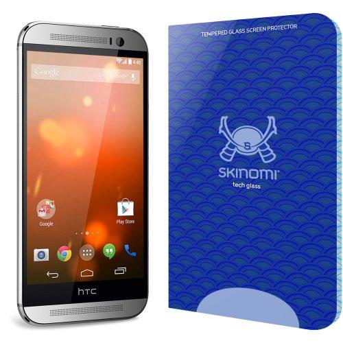 HTC One M8 Screen Protector, Skinomi Tech Glass Screen Protector for HTC One M8 Clear HD and 9H Hardness Ballistic Tempered Glass Shield