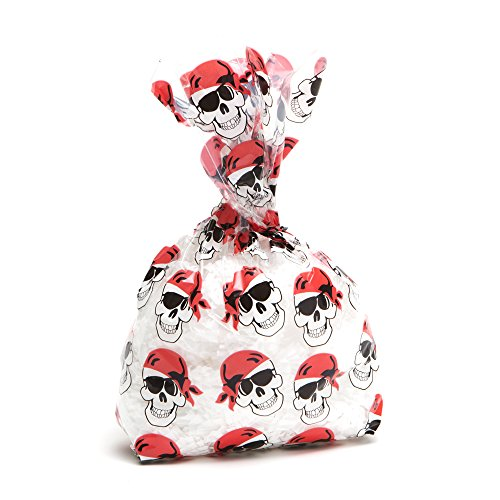 Pirate Skull Cellophane Party Bags, 12 Count (Ducky Just Gift)