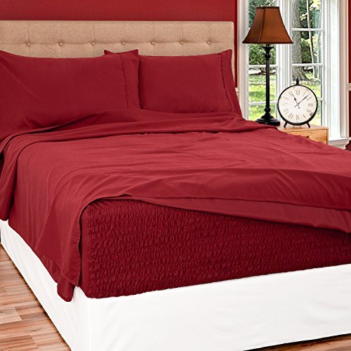 Bed Tite Stretch Fit Brushed Microfiber Soft-Woven Deep Pocket Sheet Set (Queen Size, Burgundy)