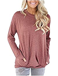 Women Casual Long Sleeve Round Neck Loose Blouses Tops with Pocket