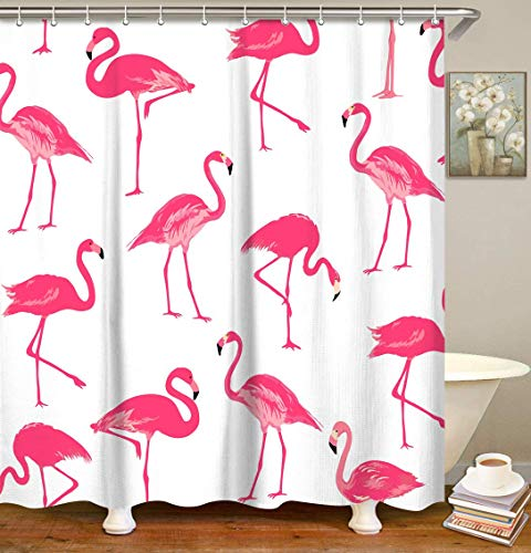 "LIVILAN Fabric Flamingo Shower Curtain Set with 12 Hooks Pink Flamingo Bathroom Decor Durable Bath Curtains 70.8"" x 70.8"", White and Pink Home Decor"