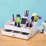 ZM-YOUTOO Jewelry Makeup Brush Storage Case Vanity Organizer Tray Box with Drawer Holder for Bathroom Vanity Bedroom Dresser Countertop,Ivory White