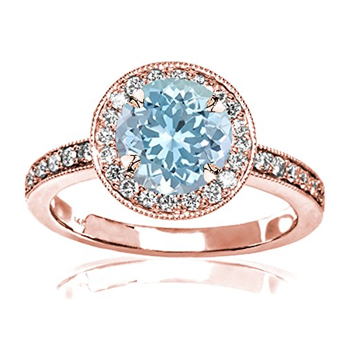 - 1.35 Carat t.w 14K Rose Gold Halo Style Vintage Diamond Engagement Ring with Milgrain w/a 1 Carat Round Cut Blue Aquamarine Heirloom Quality