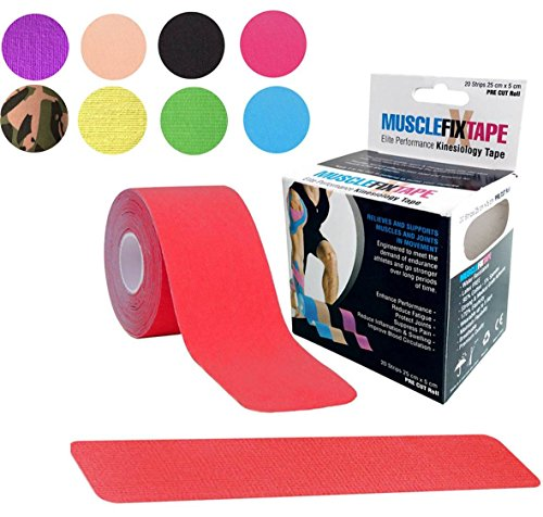 Red MUSCLE FIX Kinesiology Recovery Sport Athlete Injury Therapeutic Physio Therapy Support Training Tape Precut PRO Rock Roll (20 Strips 10 in X 2 In / 25 cm x 5 cm)