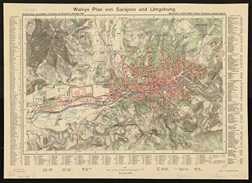 Historic Map | Sarajevo, Bosnia and Herzegovina 1912 | Walnys Plan von Sarajevo und umgebung | Antique Vintage Reproduction 30in x 24in