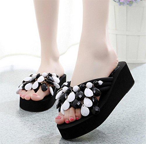 Creativa hecha a mano de playa de cuentas con zapatos de verano de las mujeres pendiente con espina de arenque de arrastrar y soltar único espeso zapatillas 3