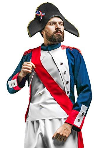 Adult Men Napoleon Costume French Revolution Napoleonic Wars Colonial Dress Up (Medium/Large, Blue, (Era Costume Ideas)