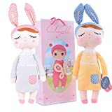 1 pcs pink+1 pcs yellow Metoo Angela Girl Plush Gray Dress Bunny Rabbit Toys Dolls 12inch + Gift Bag   Specification:   Material: Cotton Cloth + Polyester + 100% Polyester Staple Yarn;  Size: 12*4inch/30*10cm in Heigh*width;  Features: Cute sleeping ...