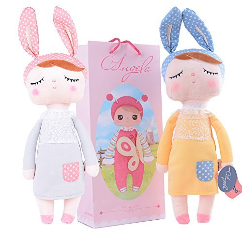 [2 Pcs Me Too Sleeping Angela Girl Plush Dress Bunny Rabbit Toys Easter Gifts Dolls 12inch + Gift] (Celebrities To Dress Up As)