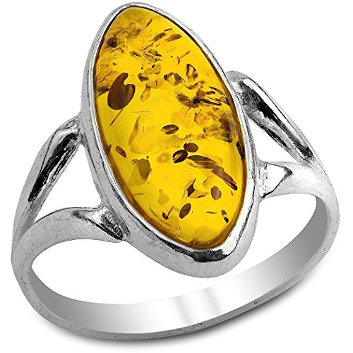Amber Sterling Silver Oval Classic Ring - Oval Amber Stone