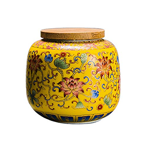 LINGS Mini Ceramic Cremation Urn Memorial Funeral Urn,for Human and Pet Ashes,Creative Home Decoration Hand Painted Flower,Yellow