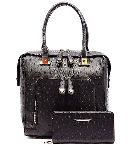 Le Miel Ostrich Embossed Tall Satchel w/Front Pocket, Strap + Wallet (Black)