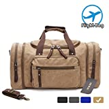 MEWAY Canvas Duffle Bag Travel Luggage Weekender Leather Trim Handbag with Strap (CANVAS, KHAKI)