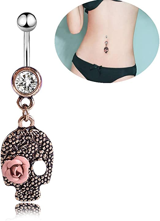 Skull Dangle Navel Belly Button Ring Bar Dangle Ring Body Piercing Jewelry/&@