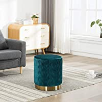 Guyou Mordern Water Ripple Fabric Round Ottoman, Footrest Stool with Gold Plating Base, Extra Seat for Living Room, Bedroom (Blue)