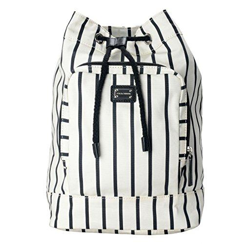 Dolce & Gabbana Black White Striped Women's Drawstring Backpack Bag by Dolce & Gabbana