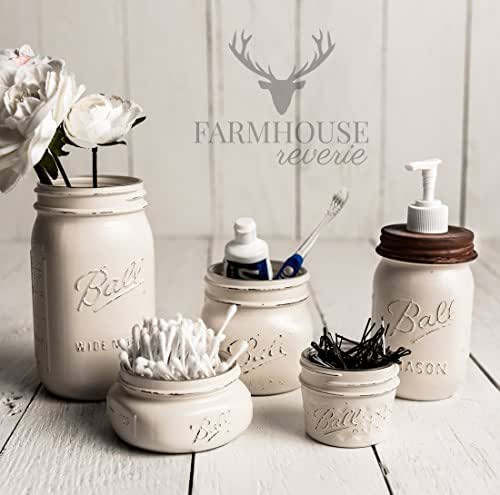 Antique white rustic mason jar bathroom set for Bathroom decor mason jars