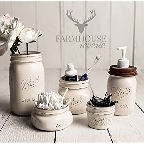 Beau Antique White Rustic Mason Jar Bathroom Set | White Bathroom Storage Set |  Farmhouse Bathroom Decor | Rustic Bathroom Decor | Vintage Decor | Rustic  Kitchen ...