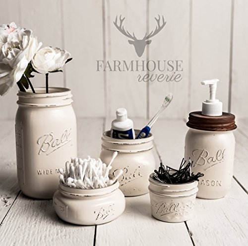 Antique White Rustic Mason Jar Bathroom Set | White Bathroom Storage Set | Farmhouse Bathroom Decor | Rustic Bathroom Decor | Vintage Decor | Rustic Kitchen Decor | Farmhouse Kitchen Decor (Country Bathroom Decor Sets)