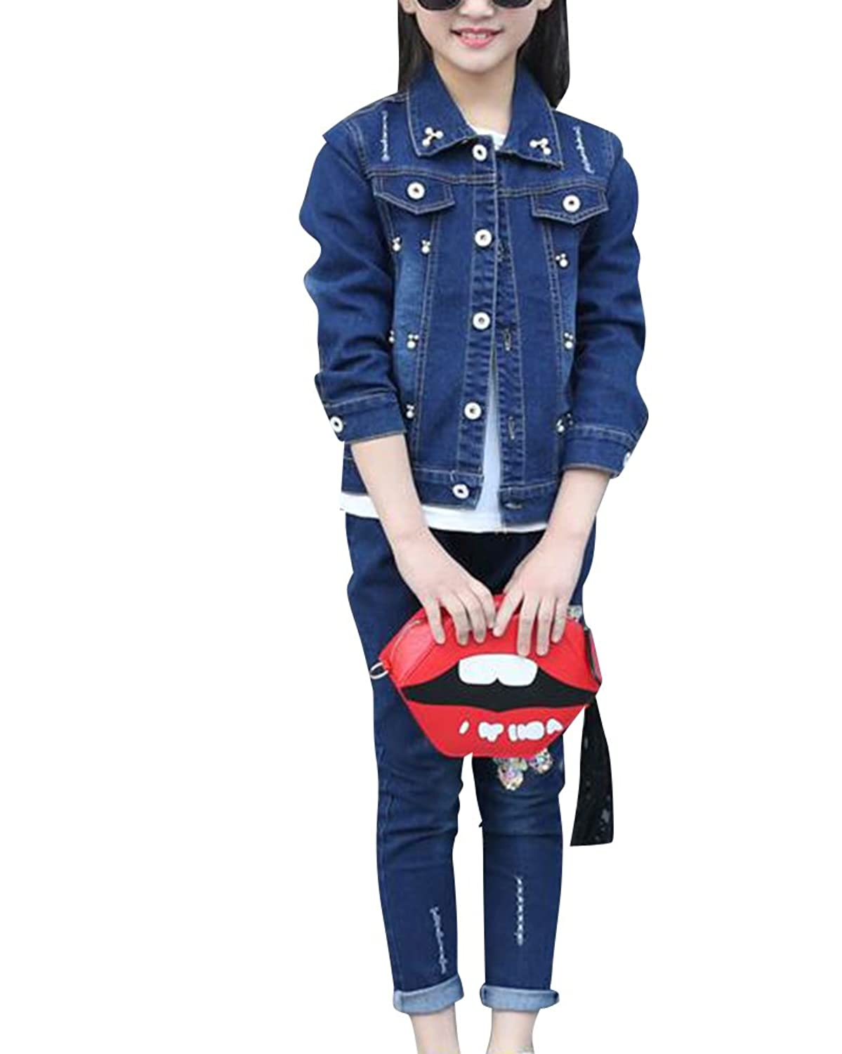 2 pcs Ensmeble Filles Enfants Papillon Paillette Manteau + Jeans Pantalons Printemps