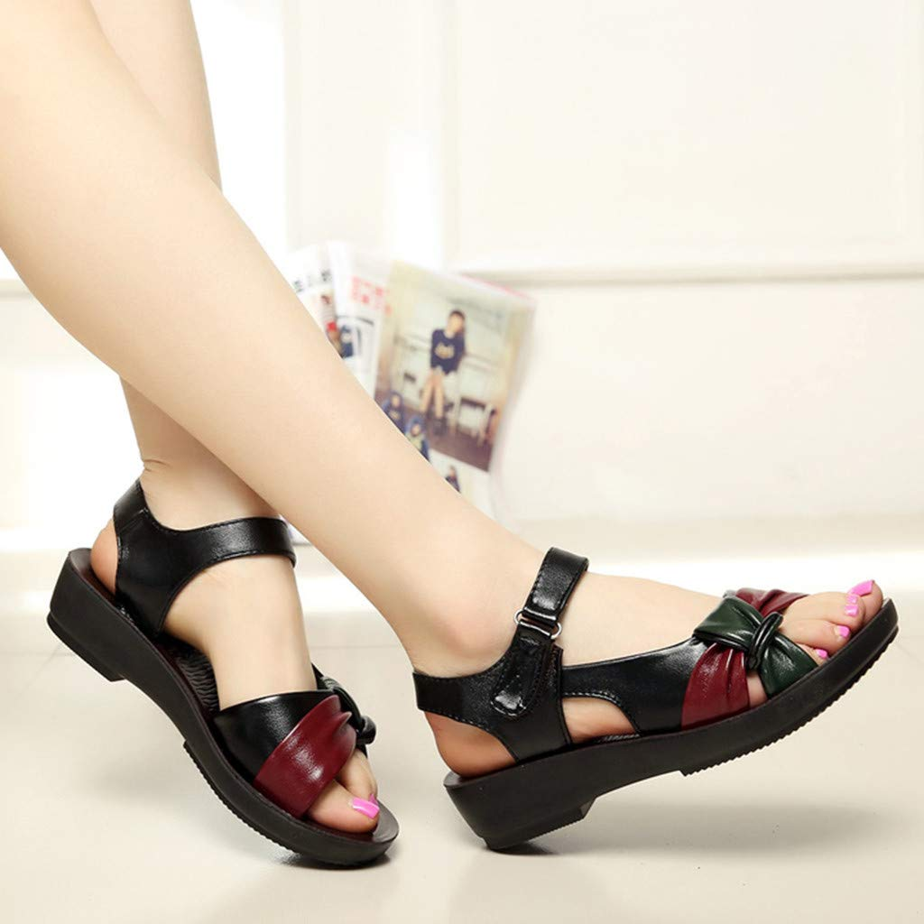 Dressin Women Leather Sandals Womens Fashion Bow Summer Shoes Low Wedges Heel Shoes Ultra Comfy Flats Sandal