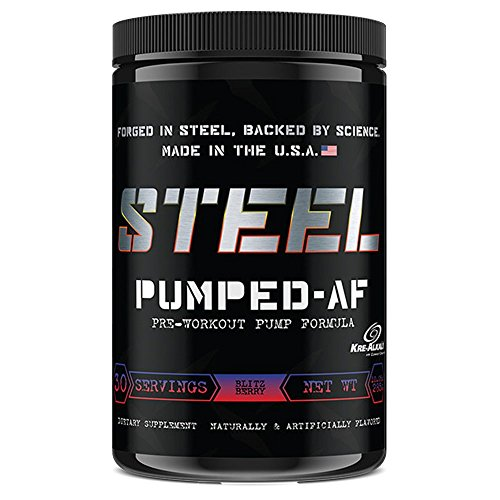 Protein Energizer Low Fat Shake (Steel Supplements Pumped-AF Pre Workout Powder Energy Drink High Intensity 30 Servings (Blitz Berry))