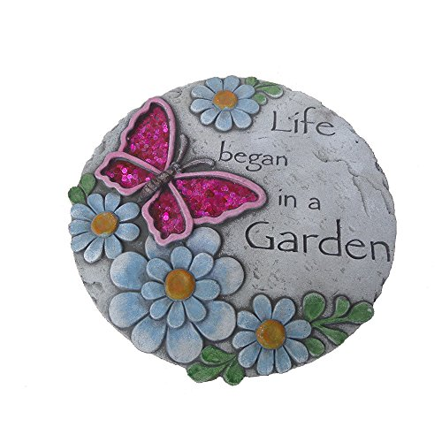Comfy Hour Butterfly Flower Decorative Garden Stone Not for Stepping, 10 Inches Round