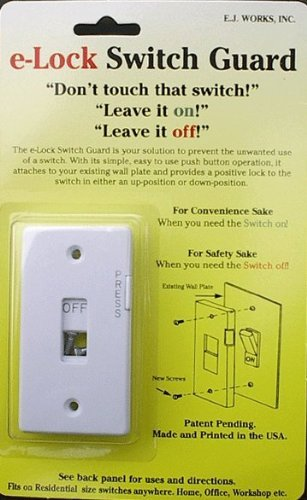 E-Lock - Light Switch Guard for Locking Switches ON or OFF - Ivory E-Lock Switch Guard