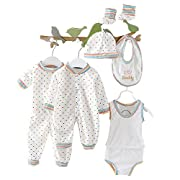 8pcs Newborn Baby Clothes Unisex Infant Outfits Layette Set with Stripe Dot(White)