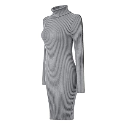 d7d588efd76 Harpa Women s A-Line Dress Women Ladies Turtleneck Striped Long Sleeve Slim  Fit Ribbed Knit