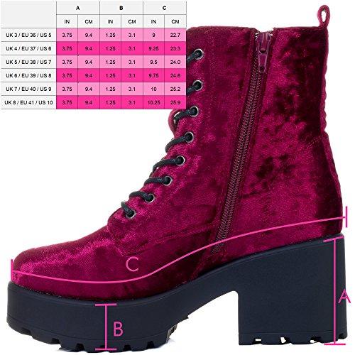 Block Platform Heel Ankle Up Red Shotgun Sole Velvet Boots Cleated Wine Style Lace Spylovebuy 5EgqFx0wx