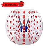 Yiilove Inflatable Bumper Ball 4 ft/5 ft(1.2/1.5 m) Bubble Soccer Ball Transparent Material Human Knocker Ballfor Adults and Kids (Dia 5 ft(1.5 m)-Red Dot)
