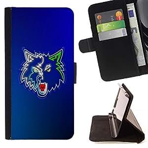 - Cool Neon Wolf Werewolf/ Personalizada del estilo del dise???¡¯???¡Ào de la PU Caso de encargo del cuero del tir???¡¯????n del s - Cao - For Samsung Gal