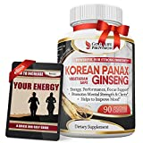 Korean Panax Ginseng – Extra Strength 1000 mg/Serving (500mg per Vegetarian Capsule) Supplement – Best Pure Wild Root Extract Powder Complex – 90 Energy Pills for Men & Women – 1 Month Supply
