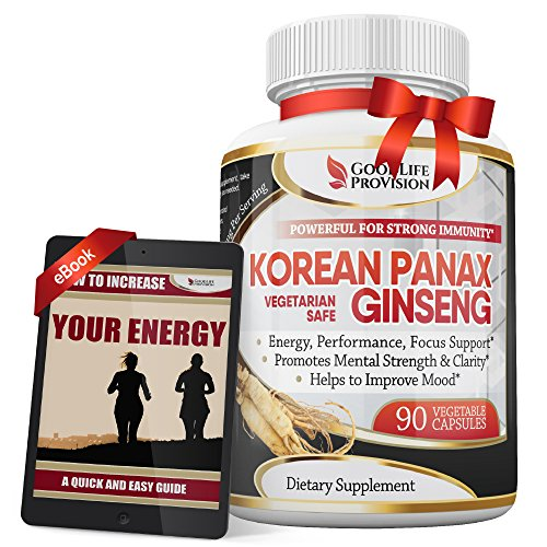 Korean Panax Ginseng – Extra Strength 1000 mg / Serving ( 500mg per Vegetarian Capsule ) Supplement – Best Pure Wild Root Extract Powder Complex – 90 Energy Pills for Men & Women - 1 Month Supply