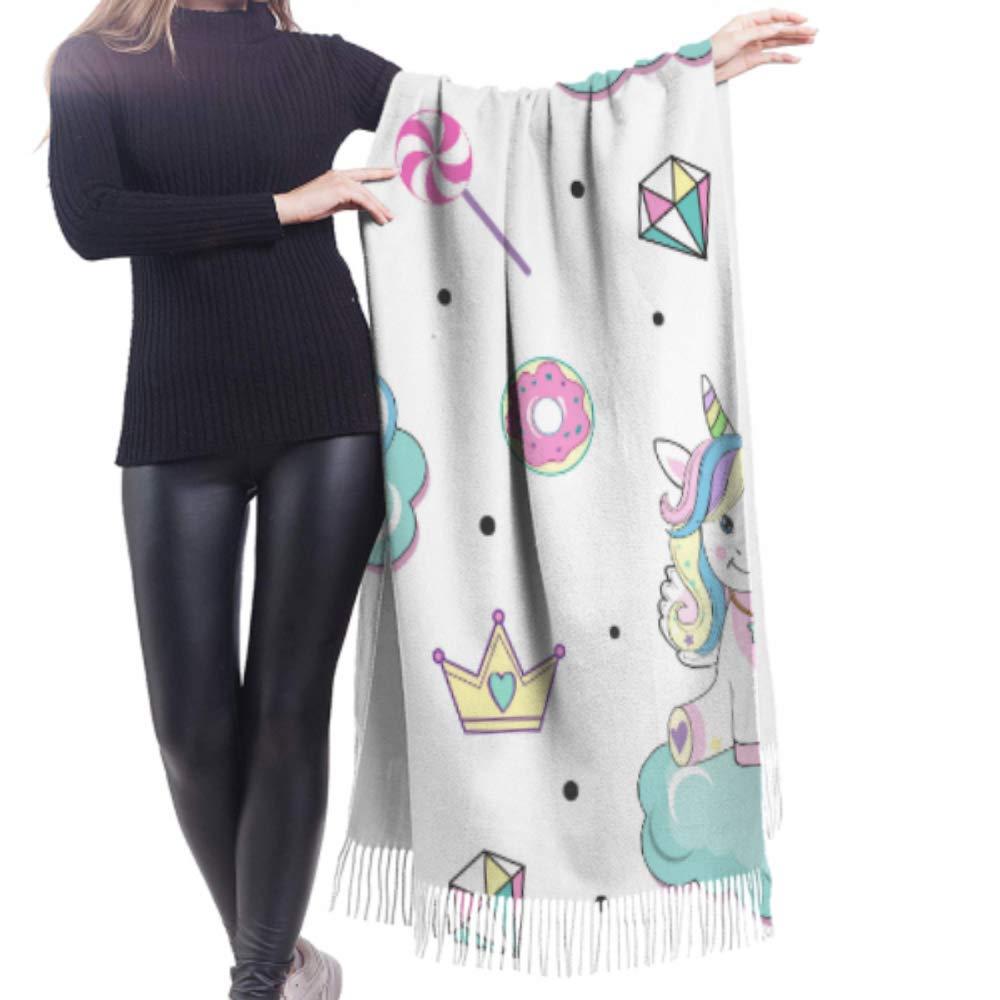 WYYWCY 27x77 Sciarpa oversize da donna Bellissimi unicorni Modello pop art Scialli e sciarpe per ragazze Sciarpa da donna grande elegante calda